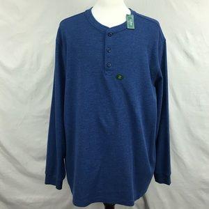 NWT LL Bean Blue Thermal LS Tee Shirt Sz XXL Tall